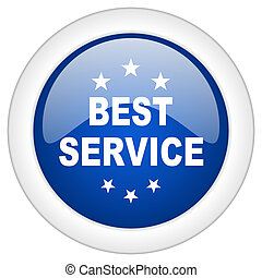 best service icon, circle blue glossy internet button, web and mobile app illustration