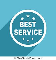 best service icon, flat design blue icon, web and mobile app design illustration
