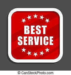 Best service icon. Flat design square internet banner.