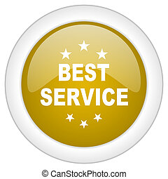 best service icon, golden round glossy button, web and mobile app design illustration