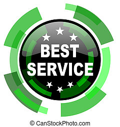 best service icon, green modern design isolated button, web and mobile app design illustration