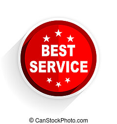 best service icon, red circle flat design internet button, web and mobile app illustration