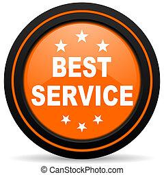 best service orange glossy web icon on white background