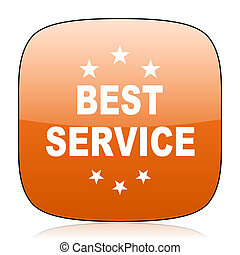 best service orange square web design glossy icon