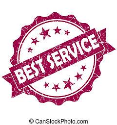 Best service pink vintage round grunge seal isolated on...