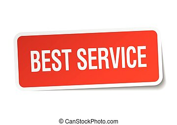 best service red square sticker isolated on white