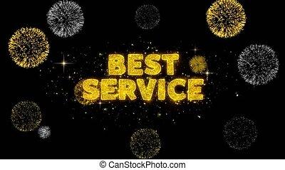 Best Service Text Reveal on Glitter Golden Particles Firework.