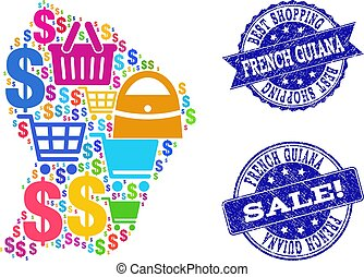Best Shopping Collage of Mosaic Map of French Guiana and Grunge Stamps