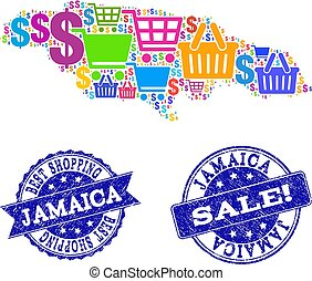 Best Shopping Collage of Mosaic Map of Jamaica and Textured Seals