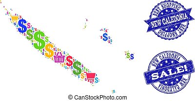 Best Shopping Collage of Mosaic Map of New Caledonia and...