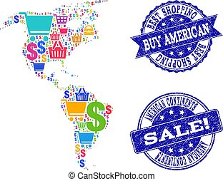 Best Shopping Collage of Mosaic Map of South and North America and Grunge Seals