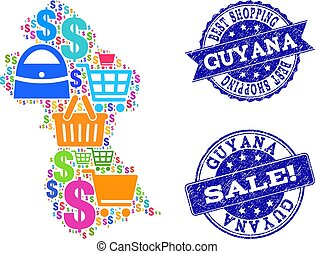 Best Shopping Composition of Mosaic Map of Guyana and Scratched Seals