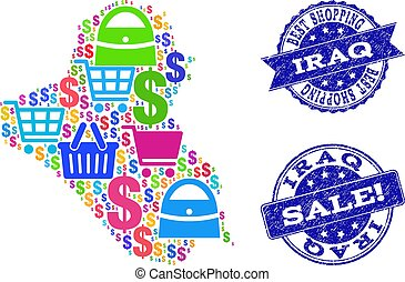 Best Shopping Composition of Mosaic Map of Iraq and Distress Stamps