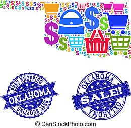 Best Shopping Composition of Mosaic Map of Oklahoma State and Grunge Stamps