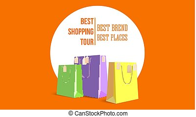Best shopping tour, horizontal poster with paper bags and label from new purchased items on orange backdrop. Template with yellow, green and violet paper bags for shopping. Vector 3D illustration.