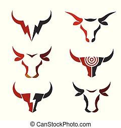 best simple Bull head vector logo set