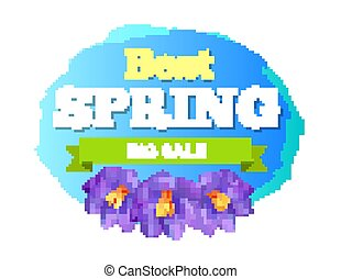 Best Spring Big Sale Advertisement Label Crocus