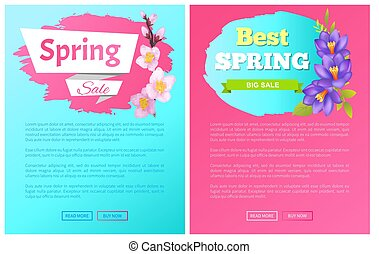 Best Spring Big Sale Advertisement Labels Crocus