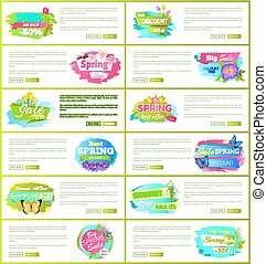 Best Spring Big Sale Advertisement Labels Flowers