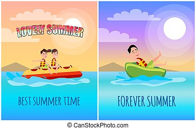 Best Summer Time Poster, Cartoon Illustration - Best summer...