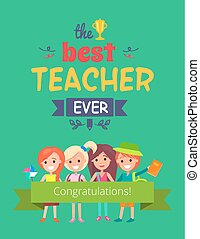 Best Teacher Ever Promo Vector Illustration