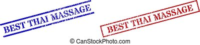 BEST THAI MASSAGE Textured Rubber Stamp Watermarks with Rectangle Frame