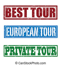 Best tour, european tour and private tour stamps