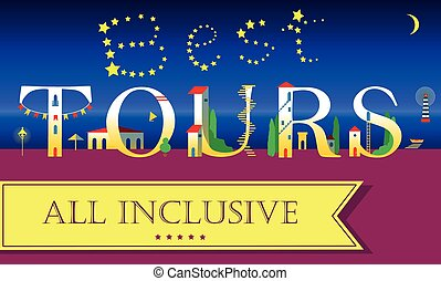 Best Tours Inscription. Cute houses Font