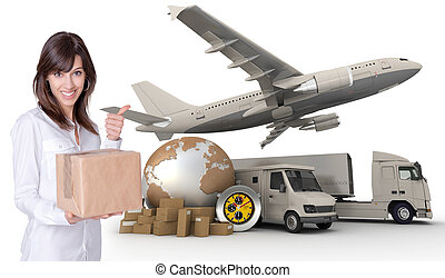 Best transportation company - Happy young woman holding a...