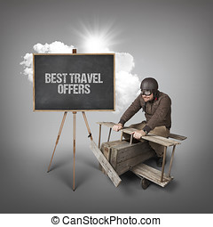 Best travel offers text with businessman and wooden aeroplane