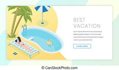 Best vacation landing page vector template. Summer rest, seasonal recreation website homepage interface idea with isometric illustrations. Tropical resort web banner, webpage cartoon concept