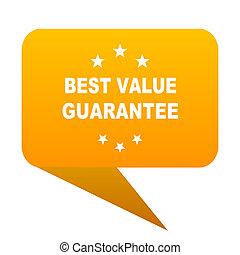 best value guarantee orange bulb web icon isolated.