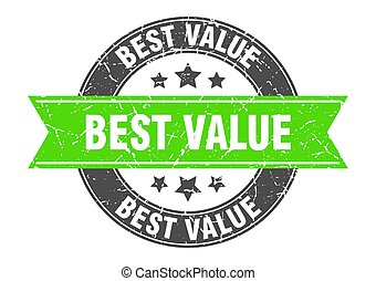 best value round stamp with green ribbon. best value