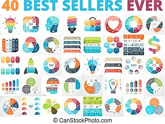 Best vector circle infographics set. Business diagrams, arrows graphs, startup logo presentations and idea charts. Data options, parts, steps or processes.