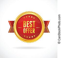 best, vector, illustration., label., aanbod