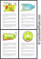 Best Weekend Sale Posters Set Vector Illustration