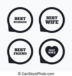 Best wife, husband and friend icons.