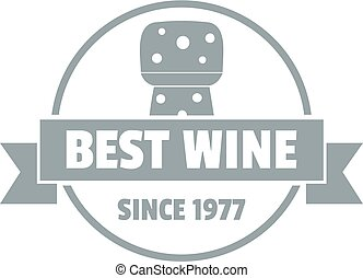 Best wine logo, simple gray style