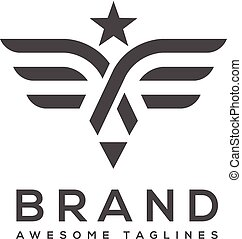 best wings logo with star simple Vector