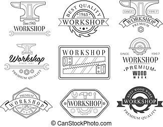 Best Wood Workshop Set Of Black And White Emblems. Classic...