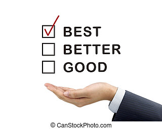 best word chosen by businessman's hand