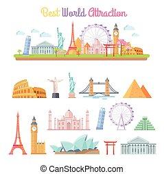 Best World Attractions Cartoon Illustrations Set