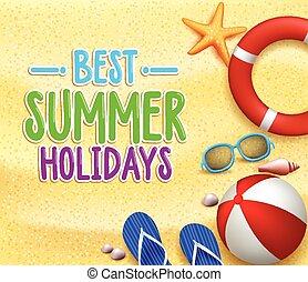 best, zomervakantie, kleurrijke, titel