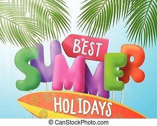 best, zomervakantie, vector, spandoek, met, kleurrijke, 3d, tekst