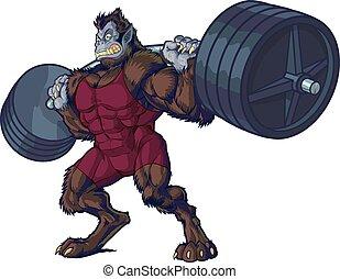 besta, homem, weightlifting, mascote