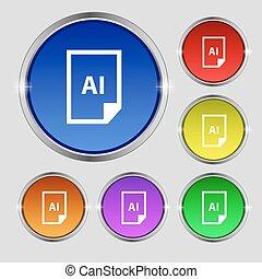 bestand, ai, pictogram, teken., ronde, symbool, op, helder, kleurrijke, buttons., vector