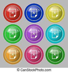 bestand, ai, pictogram, teken., symbool, op, negen, ronde, kleurrijke, buttons., vector