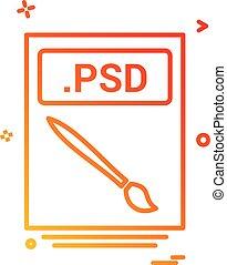 bestand, archief, psd, pictogram, vector, ontwerp
