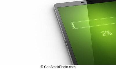 bestand, downloaden, concept, op, smart, telefoon, blauw scherm