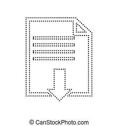 bestand, downloaden, teken., vector., black , dotted, pictogram, op wit, achtergrond., isolated.